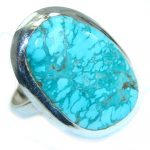 Genuine Turquoise .925 Sterling Silver handmade Ring s. 10 1/2