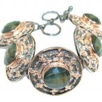 Cascade of light GENUINE Labradorite Rose Gold over .925 Sterling Silver handmade Bracelet