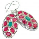 Unique Ruby Emerald .925 Sterling Silver handmade earrings