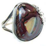 Australian Koroit Opal .925 Sterling Silver handcrafted Ring size 8 adjustable