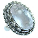 Rose Quartz .925 Sterling Silver ring s. 6