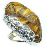 Huge Bold Golden Tigers Eye .925 Sterling Silver handmade ring s. 8 adjustable
