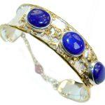 Vintage Design Lapis Lazuli 14K Gold over .925 Sterling Silver handcrafted Bracelet