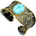 Genuine Blue Larimar 14K Gold Rhodium over .925 Sterling Silver handmade Bracelet Cuff
