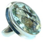Oval cut Green Amethyst .925 Sterling Silver handmade Cocktail Ring s. 6 1/2