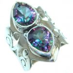 Magic Cubic Zirconia .925 Sterling Silver handmade Ring s. 7 3/4