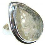 Magic Golden Rutilated Quartz .925 Sterling Silver handmade Ring s. 7 1/2