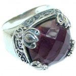 Authentic Amethyst .925 Sterling Silver handmade Ring size 7 1/4