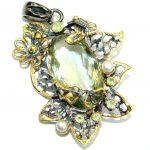 Vintage Design 45CT Genuine Citrine .925 Sterling Silver handcrafted pendant