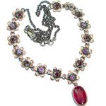 Authentic Ruby Rose Gold Rhodium over .925 Sterling Silver handmade Statement Necklace