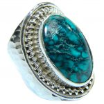 Genuine Turquoise hammered .925 Sterling Silver handmade Ring s. 7