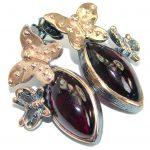 Stunning Brazilian Garnet 25 ct Gold over .925 Sterling Silver handmade Earrings