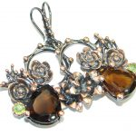 Vintage Style Smoky Topaz Rose Gold Rhodium over .925 Sterling Silver handmade earrings