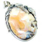 Large Authentic Australian Boulder Opal .925 Sterling Silver handmade Pendant