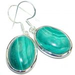 Fancy Green Malachite Sterling Silver handmade earrings