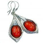 Sublime Orange Carnelian oxidized .925 Sterling Silver handmade earrings
