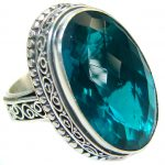 Emerald color Quartz .925 Sterling Silver handmade Cocktail Ring s. 6