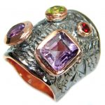 Authentic Amethyst Gold Rhodium over .925 Sterling Silver handmade Ring size 6 3/4