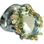 Genuine 45ct Green Amethyst .925 Sterling Silver handmade Cocktail Ring s. 8 1/4