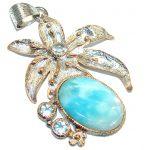 Vintage Design Larimar 14K Gold Rhodium over .925 Sterling Silver handmade pendant