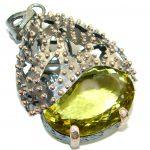 Huge Vintage Design 105CT Genuine Lemon Quartz Gold Rhodium over .925 Sterling Silver handcrafted pendant