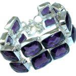 Huge Rich Purple Quartz .925 Sterling Silver handmade Bracelet