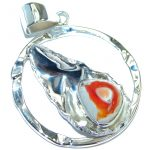 Mexican Fire Opal .925 Sterling Silver handmade Pendant