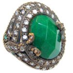 Victorian Style created Emerald & White Topaz Sterling Silver Ring s. 7 1/4
