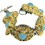 Byzantine Style genuine Aquamarine 14K Gold over .925 Sterling Silver handmade bracelet