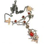 Fine Art Genuine Garnet 14K Rose Gold Rhodium over .925 Sterling Silver handmade necklace