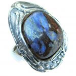 Australian Boulder Opal .925 Sterling Silver handcrafted ring size 7 adjustable