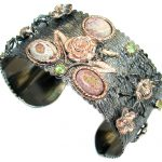 Enchanted Forest Mexican Opal 14K Gold Rhodium over .925 Sterling Silver handcrafted Bracelet / Cuff