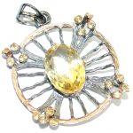 Vintage Design 40ct Genuine Citrine .925 Sterling Silver handcrafted pendant