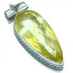 Vintage Design 108CT Genuine Lemon Quartz .925 Sterling Silver handcrafted pendant