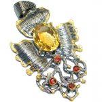 Vintage Design Genuine Citrine Gold Rhodium over .925 Sterling Silver handcrafted pendant