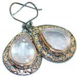 Enchanted Garden genuine Rose Quartz Gold over .925 Sterling Silver handmade earrings