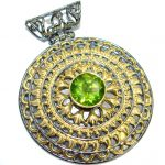 Unique design Peridot Gold over .925 Sterling Silver handcrafted Pendant