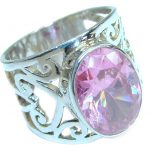 Classy Pink Topaz .925 Silver Ring s. 7 1/2