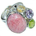 Perfect Rhodochrosite .925 Sterling Silver handmade Ring s. 8 adjustable