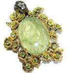 Vintage Design Prehnite 14K Gold Rhodium over .925 Sterling Silver handmade pendant