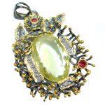 Vintage Design 74.2CT Genuine Lemon Quartz .925 Sterling Silver handcrafted pendant