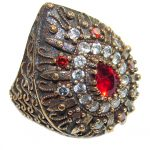 Large Victorian Style created Ruby & White Topaz Sterling Silver ring; s. 7 1/4