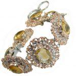 Stunning genuine Citrine 14K gold over .925 Sterling Silver handmade Bracelet