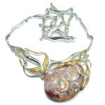 Large Master Piece genuine 148 ct Mexican Opal .925 Sterling Silver brilliantly handcrafted necklace