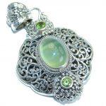 Vintage Design Prehnite .925 Sterling Silver handmade pendant