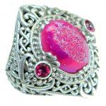 Bali Dream Raspberry Titanium Druzy .925 Sterling Silver handmade Ring s. 7 1/2
