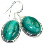 Fancy Green Malachite .925 Sterling Silver handmade earrings