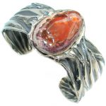 One of the kind Orange Mexican Fire Opal Oxidized .925 Sterling Silver Bracelet / Cuff