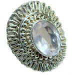 Huge Best Quality Rose Quartz .925 Sterling Silver ring s. 8