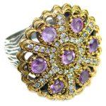 Purple Quartz .925 Sterling Silver handmade Ring s. 6 3/4